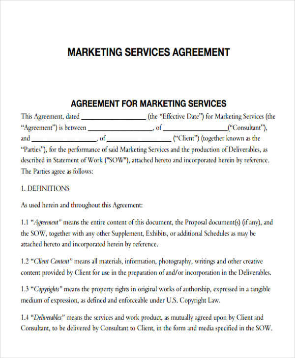 Marketing Agreements  Free Sample Example Format Download