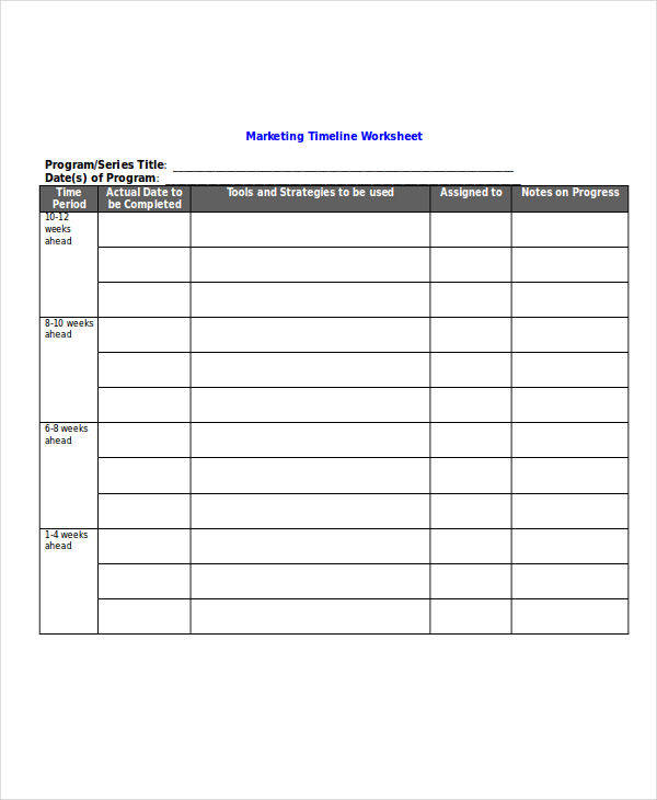 marketing worksheet