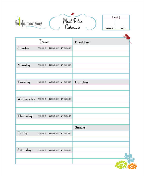 Meal Calendar Template  Free Sample Example Format Download