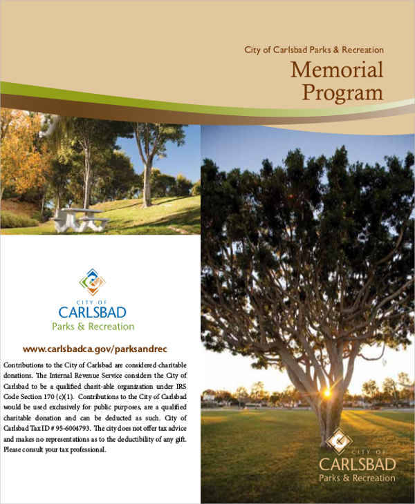memorial program layout