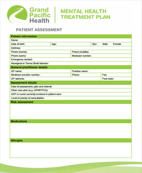 Treatment Plan Samples  Templates In Pdf Doc