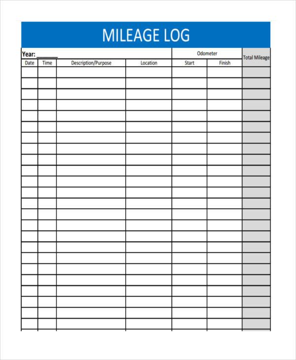 mileage log sheet