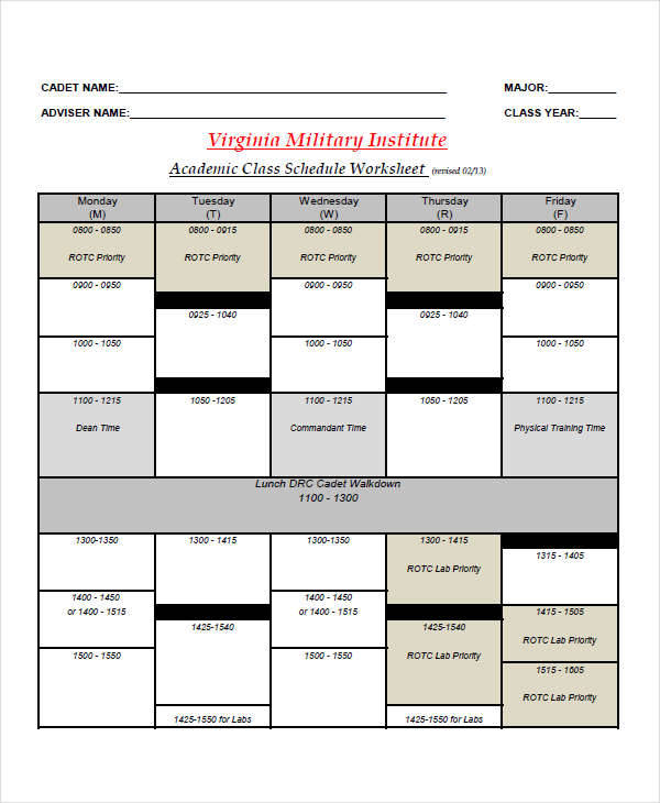 military schedule chart