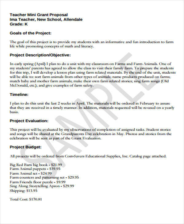 9 Grant Proposal Samples Free Sample Example Format Download