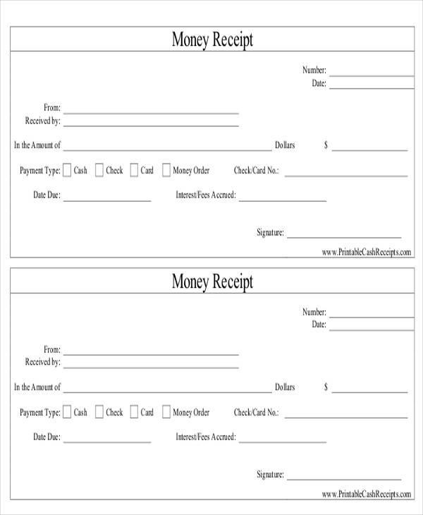 money order receipt template