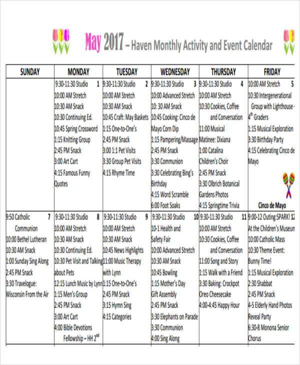 monthly activity calendar copy