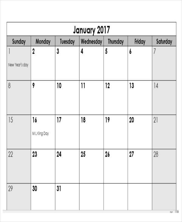 Business Calendar Templates  Examples In Word Pdf
