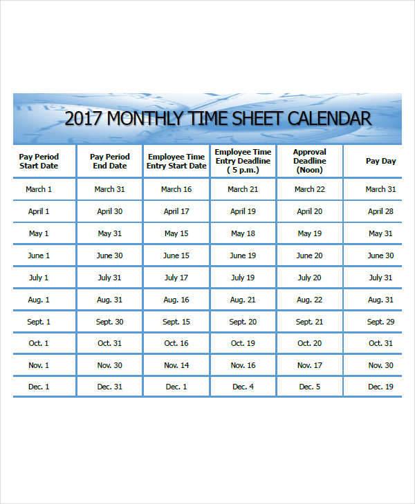monthly calendar timesheet
