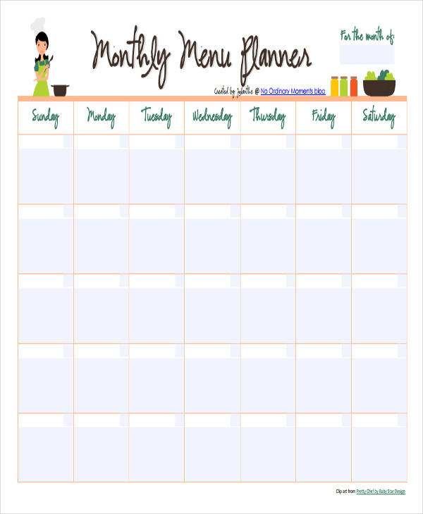 monthly food calendar