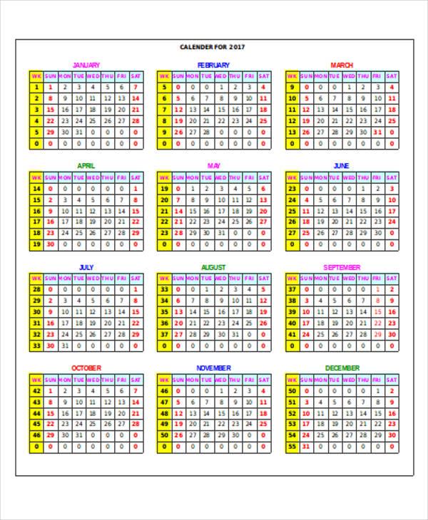 monthly house calendar