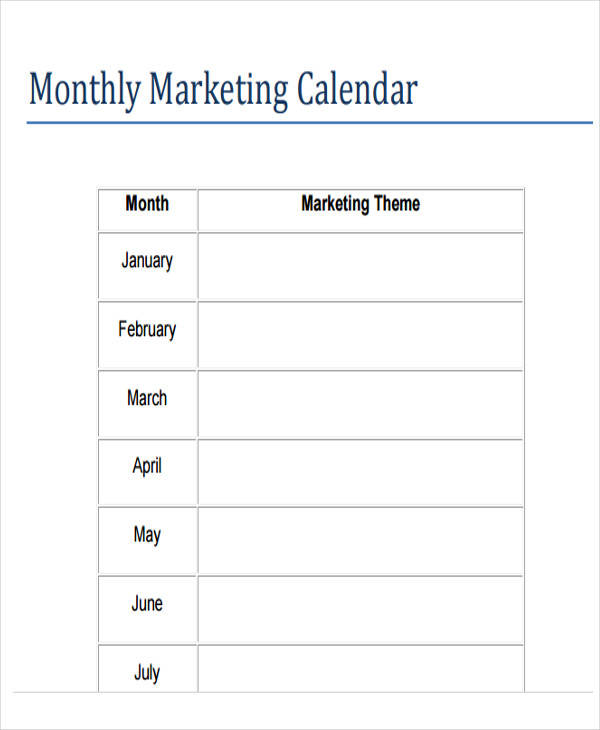 Monthly Marketing Calendar : Calendar samples templates sample