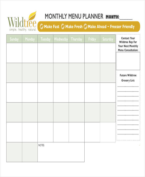 6 meal calendar template free sample example format for Monthly dinner calendar template