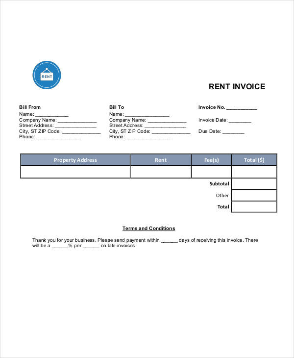 monthly rent invoice