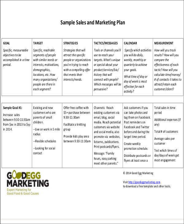 27 sales plan examples sample templates for Sales and marketing plans templates