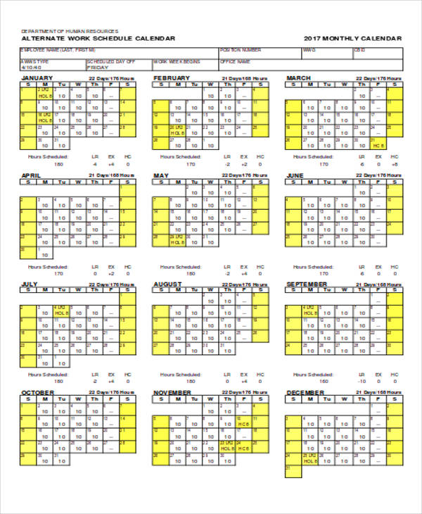 monthly schedule calendar1