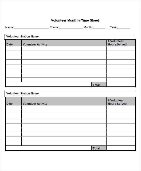 ... 42 Timesheet Templates U2013 Sample Volunteer Timesheet ...