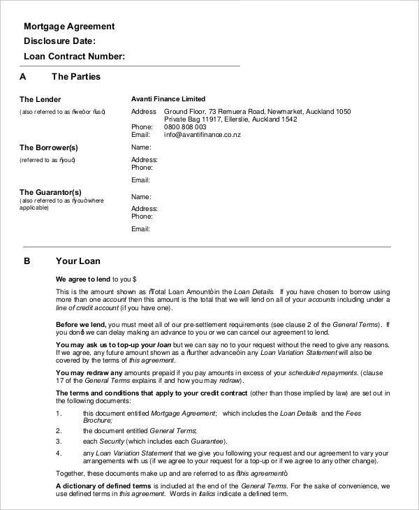 mortgage agreement contract
