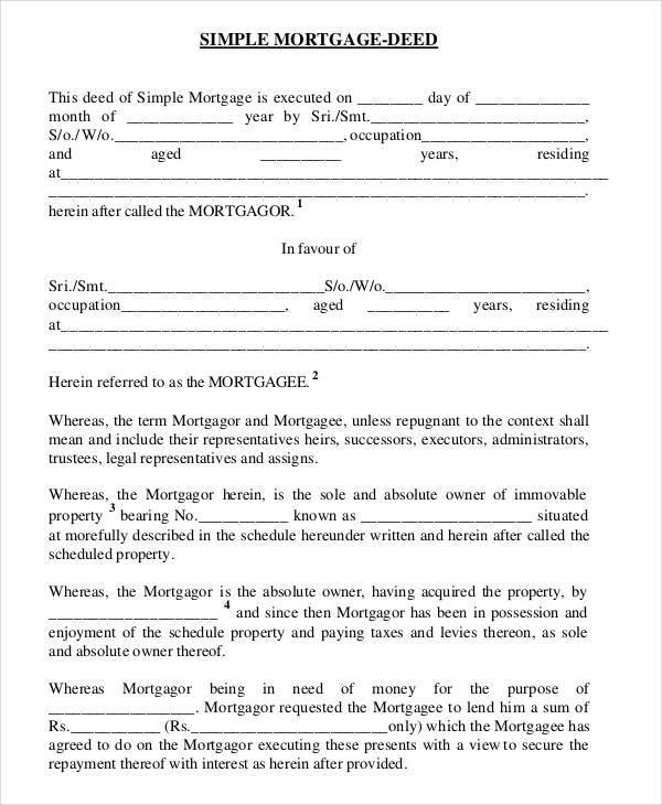 Mortgage Contract Templates  Free Sample Example Format Download