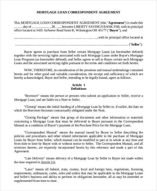 Mortgage Contract Samples  Templates  Pdf Doc