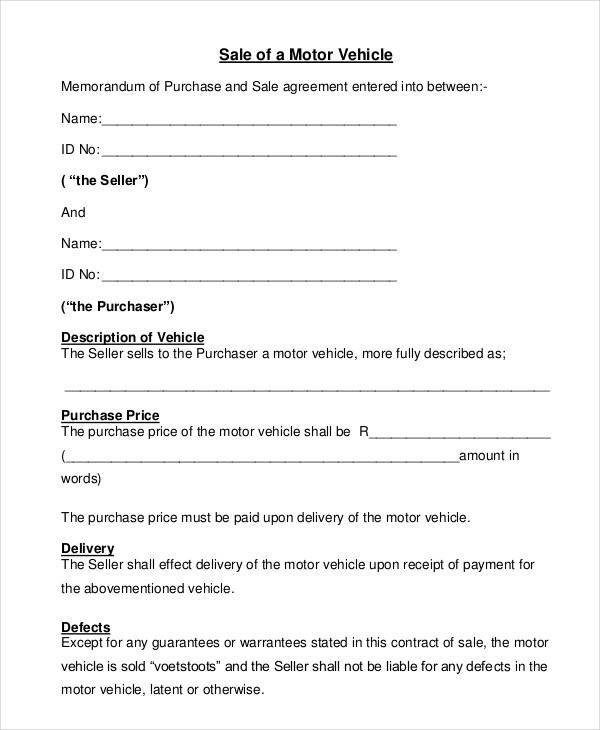 Automobile Sales Contract  Free Sample Example Format Download