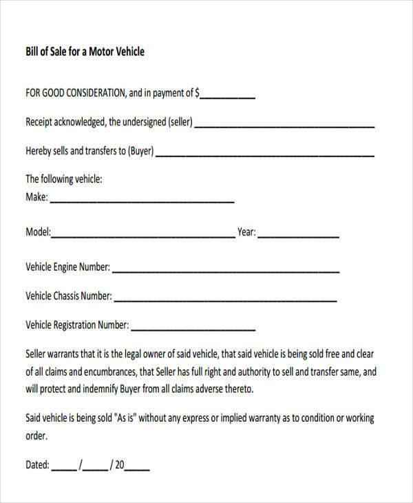 motor vehicle sales receipt