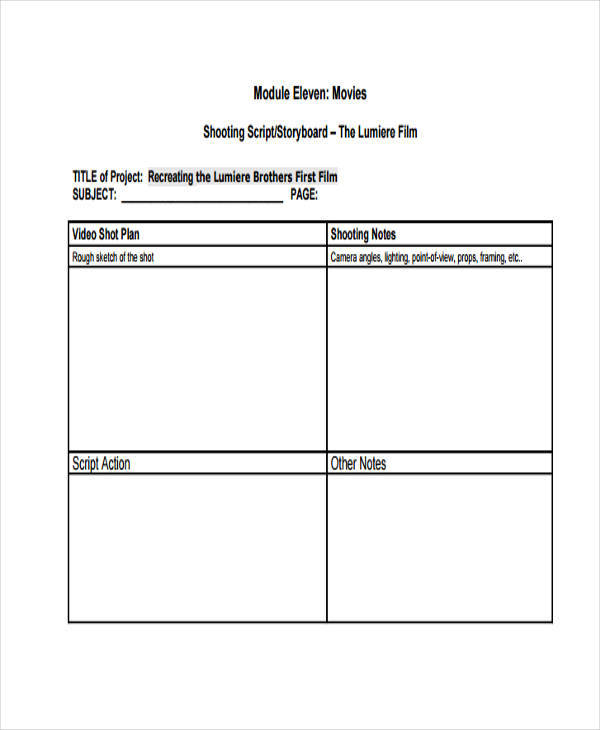 Downloadable Script Storyboards  Free Sample Example And Format
