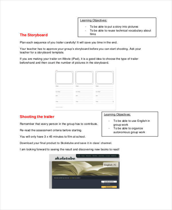 5 movie storyboard examples in pdf sample templates
