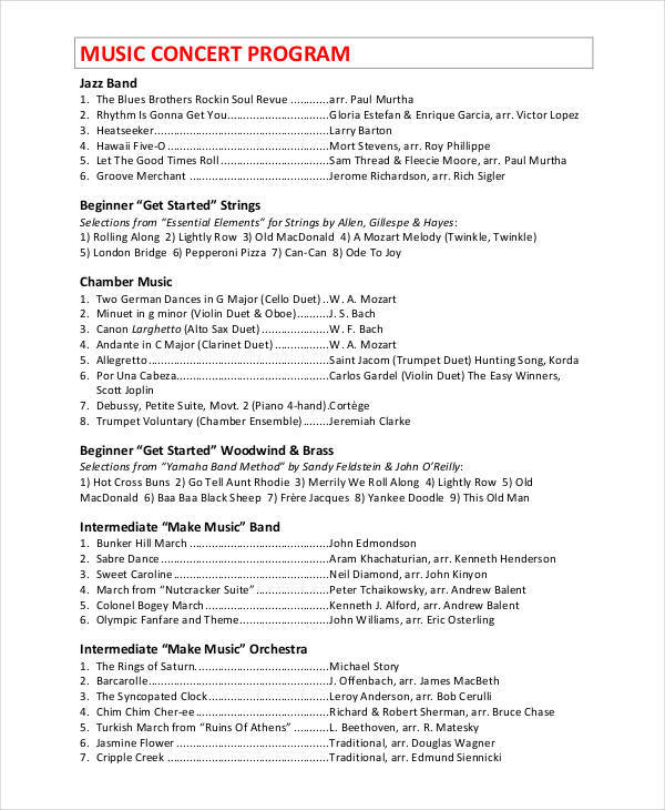 Concert Program Templates  Free Sample Example Format Download