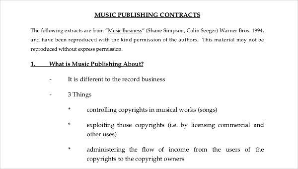 5 Music Contract Samples & Templates | Sample Templates