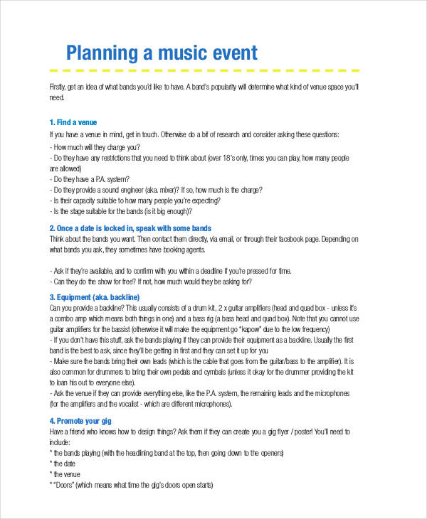 music event plan