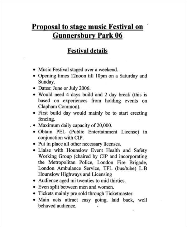music festival event proposal