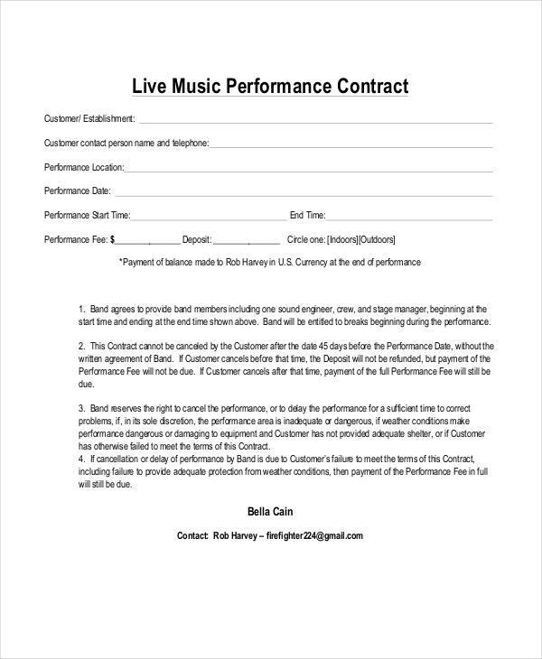 Music Contract Templates  Free Sample Example Format Download