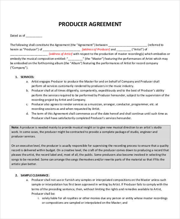 5 music contract samples templates sample templates for Music production contract template