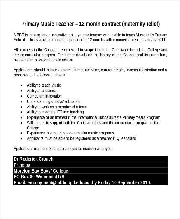 music teacher contract