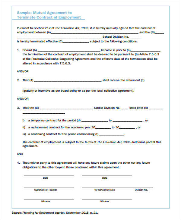 Termination Contract Samples  Free Sample Example Format