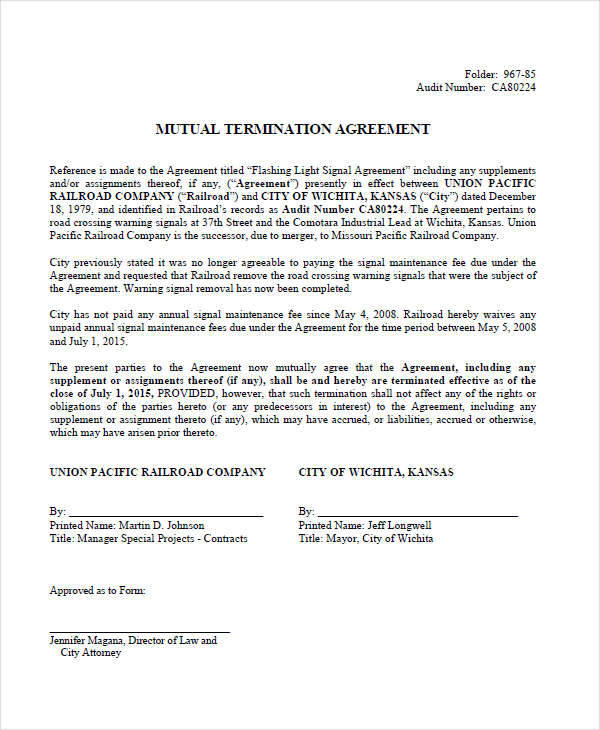 8 termination contract template examples in word pdf mutual termination contract template platinumwayz