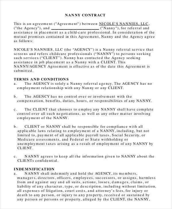 9 Nanny Contract Templates Free Sample Example Format Download – Nanny Contracts