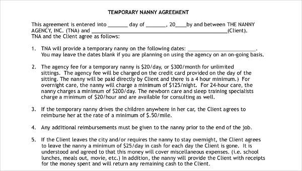 9 Nanny Contract Templates