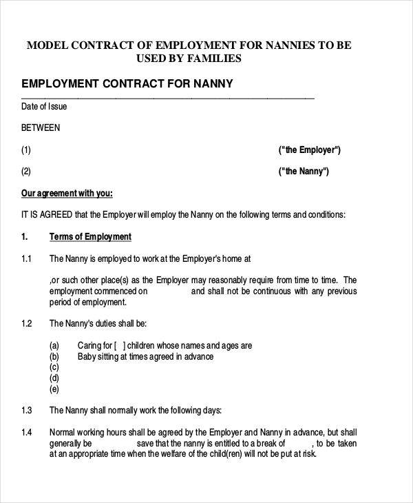 Nanny Contract Templates  Free Sample Example Format Download