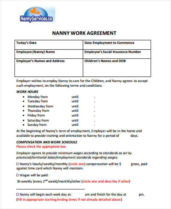 nanny job contract