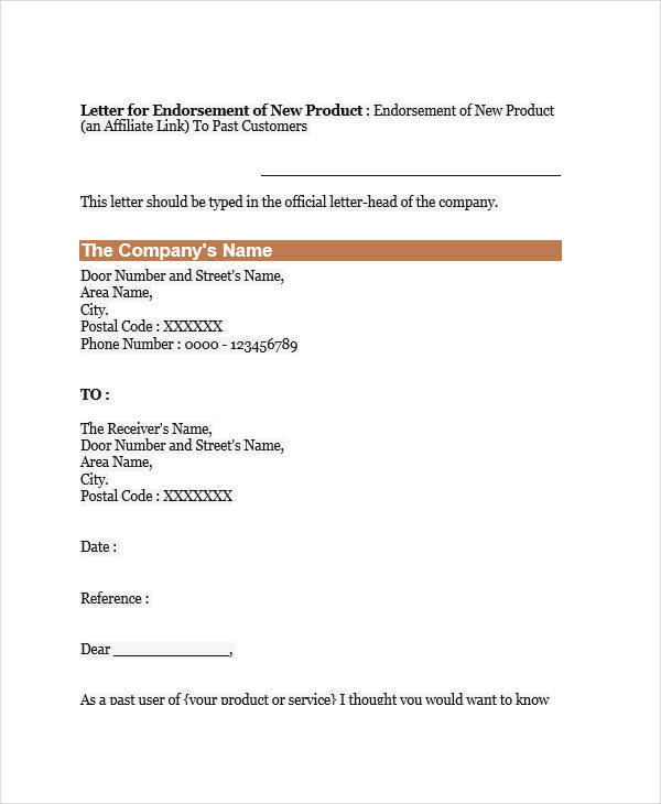 Endorsement Letters Samples  Templates  Pdf Doc