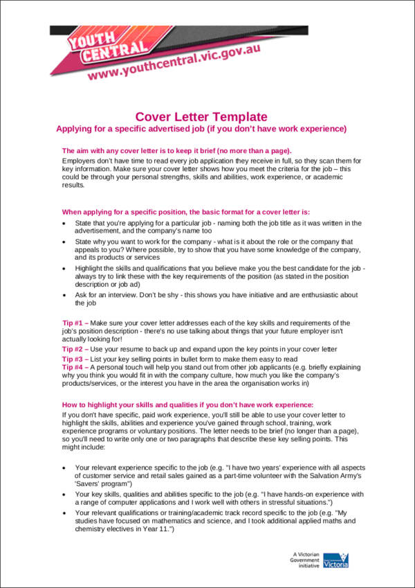 no experience cover letter template