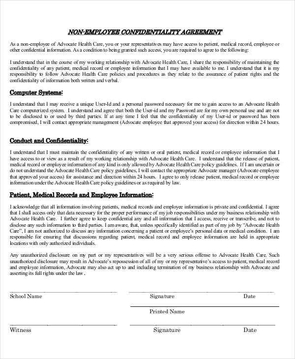 Employee Confidentiality Agreements  Free Sample Example