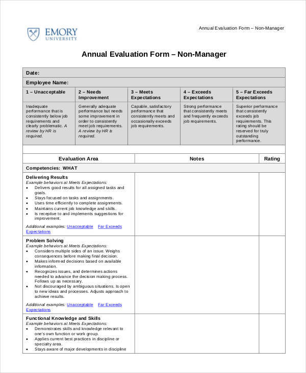 Employee Evaluation Form Examples  Samples  Pdf Doc