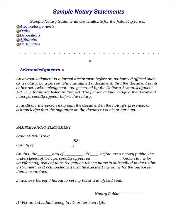 Notary sworn statement