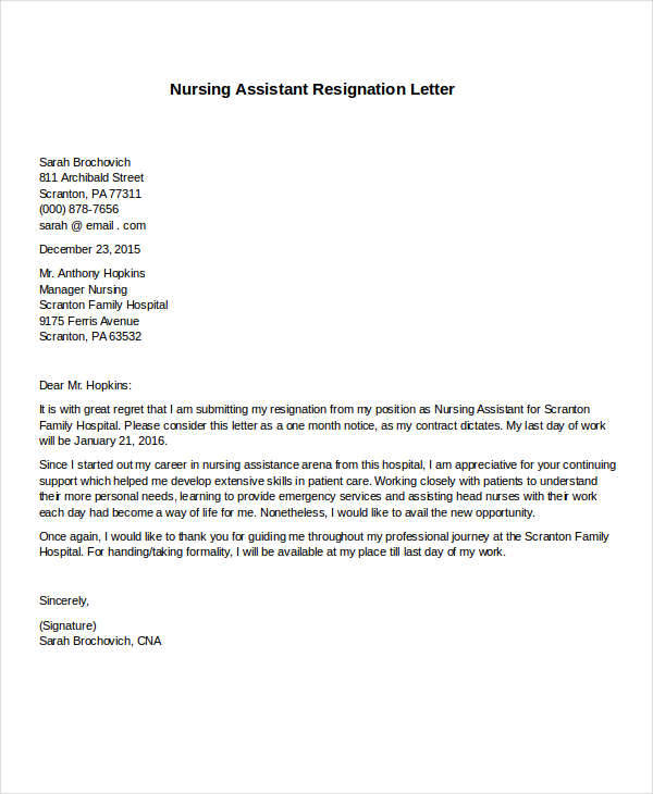 nursing assistant resignation