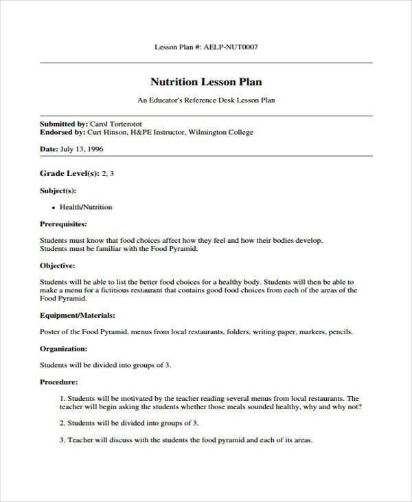 nutrition lesson plan