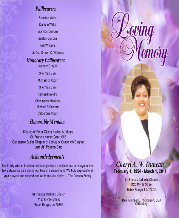 obituary church program