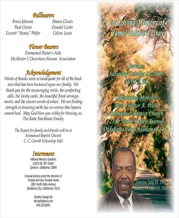 obituary memorial program