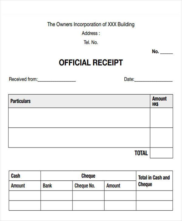 official cash receipt